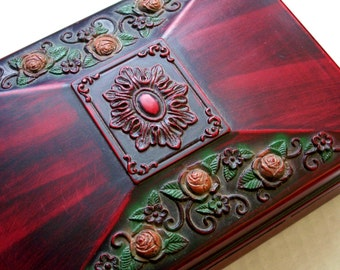 Carved Rose Floral Wood Jewelry Box, Trinket Box, Treasure Keeper