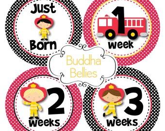 BUNDLE PACK of 20 Stickers Fireman Baby Months Set plus Milestone and Newborn Set Firefighter Baby Shower Gift Baby Stickers Newborn Decals