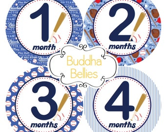 Baby Month Stickers Baby Boy Monthly Stickers Baseball Nursery Baby Stickers Baby Milestone Sticker Boy Monthly Baby Sticker Baseball -B255