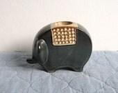 Vintage Gray Stoneware Elephant Candlestick Holder Japan