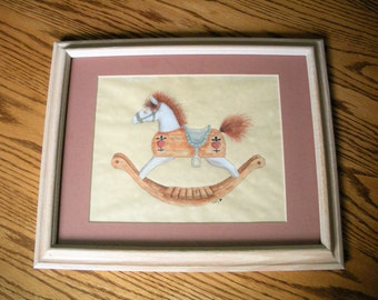 Rocking Horse Original Watercolor Picture In Whitewash Matted Frame Nursery Decor