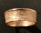 Ladies Bronze Coin Ring 1971 Netherlands Antilles 2 1/2 Cents, Ring Size 6 and Double Sided