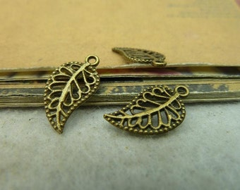 50pcs 10*17mm antique bronze leaf charms pendant C3985