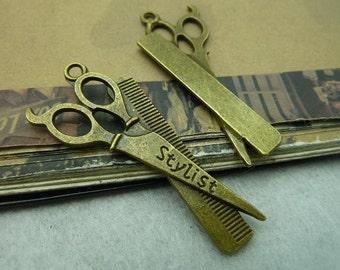 10pcs 25*53mm antique bronze scissors charms pendant C6026