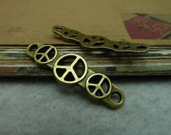 20pcs 11*39mm antique bronze peace symbol charms pendant C7094