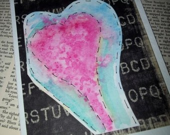 Watercolor heart card, valentine day card, watercolor heart, handmade card, black, blue, green, pink, original card, ArtFromTheCabin