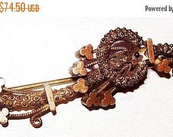 "Georgian Victorian Shamrock Brooch Gold Metal Clovers 2 1/4"" Antique Jewelry"