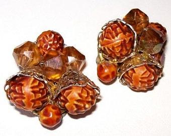 """Fall Acorn Earrings Brown Stones & Orange Crystal Beads Gold Metal Clip Ons Hong Kong 1"""" Vintage"""