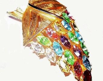 """Pastel Leaf Berry Brooch Pin Pink Blue Green Rhinestones Gold Metal 2.5"""" Vintage"""