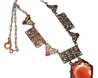 Edwardian Bib Necklace Pendant Pink Rhinestones & Art Glass Brass Metal Filigree Cut Work 16 in Vintage