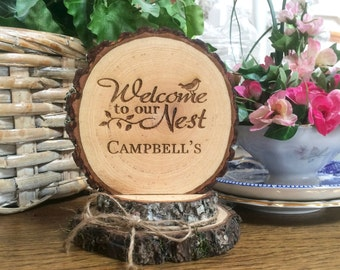 Rustic Welcome Sign / House Warming Gift / Cake Topper / Personalized Sign / Laser Engraved