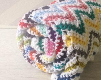 Crochet baby blanket - unique multi color and white crochet blanket