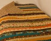 Twin Bed Quilt, Large Lap Quilt, Grand Finale Jelly Roll Race Quilt, Twin size, Sandy Gervais, Fall Quilt, Autumn Quilt, Pumpkins, OOAK