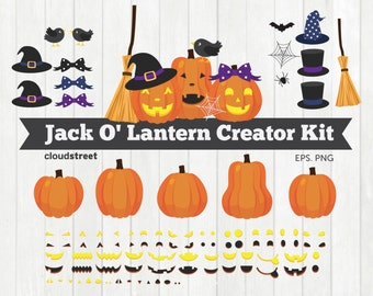 20% OFF Jack O' Lantern Creator Kit clipart / jack o lantern clip art / halloween pumpkin clipart vector / commercial use ok