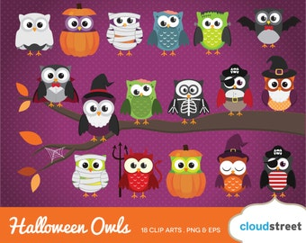 20% OFF cute halloween owls clipart / halloween owl clip art / witch mummy vampire ghost vector illustration / commercial use ok