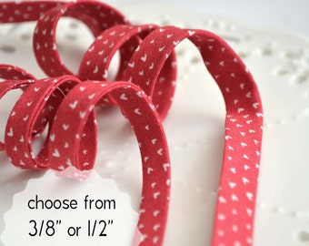 """mini hearts on punch - double fold, bias tape - 3 yards, CHOOSE 3/8"""" or 1/2"""" wide"""