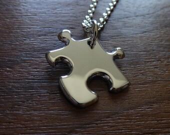 Miniature Silver Puzzle Piece Pendant Necklace