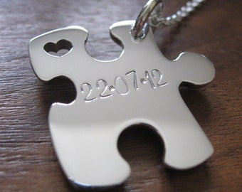 Puzzle Pendant Necklace with two Stamped Initials and Date