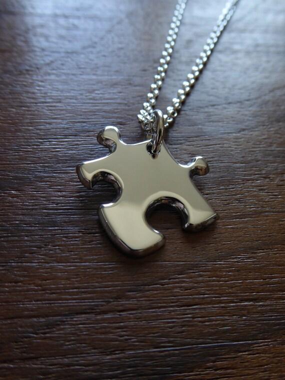 SALE - Miniature Silver Puzzle Piece Pendant Necklace