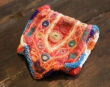 In Stock - Vintage Embroidery & Mirror Work Purse from Gujarat, India