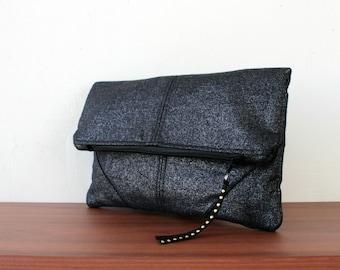 Foldover clutch,Metallic black linen,minimalist desing.