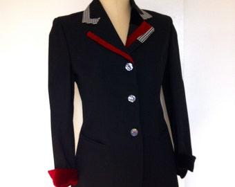 SALE Myrene de Premonville Jacket, Paris, France, US Size 8, Black Wool, Red Velvet, Black & White Herringbone Trim