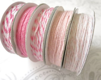 Pink and White Twine -- 5 yards -- American Crafts -- 5 Rolls