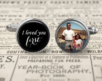 Father Of The Bride Cufflinks,Custom Photo Accessories, Wedding Cufflinks, I Loved You First