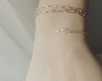 Gold CZ Bracelet, 14K Gold Filled CZ Bracelet, CZ Bracelet, Layers in Style, Stacking Bracelet, Mothers Gift, Best Friends, Girl Friend Gift