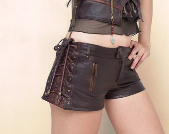 ON SALE!      Leather steampunk shorts, leather pixie shorts, burning man shorts,