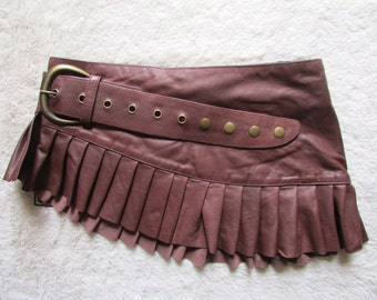 Brown  leather steampunk leather mini skirt wrap around leather ruffled steampunk skirt