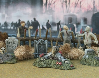 Graveyard Groundbreaker Zombie Undead Trio for Miniature Halloween Village Display