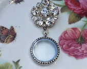 Silver Bloom Brooch Memory Locket, Vintage Wedding Bouquet Photo Charm, Bridal Bouquet Photo Locket MoniquesBijouxStudio
