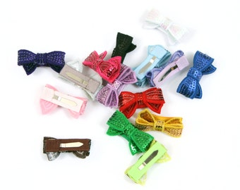 Baby Snap Clips, Crochet Hair Clips, SEQUIN BOW, Flower Clips, Infant Clips, Girl's Snap Clips, Baby Barrettes, SIX clips - You Choose