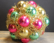 Vintage Christmas Kissing Ball // Ornaments and Gold Tinsel // Pink Green Gold
