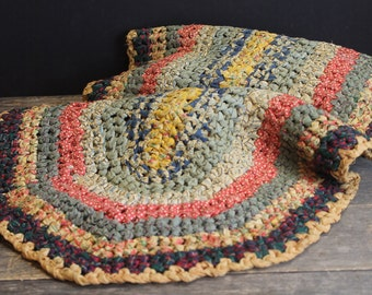 "Vintage Primitive Braided Cotton Rag Rug // 39"" // Red  // Blue // Yellow // Green // White"