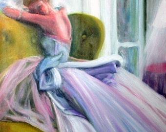 Original Oil Painting: Vintage Vogue Fifties Fashion Lavender Gown