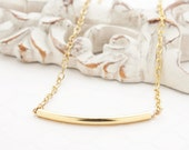Curved Bar Necklace | Minimalist Necklace | Dainty Jewelry | Layering Necklace | 14k Gold Bar Necklace | Gift Ideas Under 50 | Gold Necklace