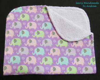 Pastel Elephants Burp Cloth, Purple Baby Burp Cloth, Elephants, Flannel and Terry Cloth Burp Cloth
