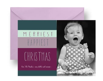 Plum & Teal Merriest Photo Christmas Cards Stripe Seasons Greeting Family Photo Card Abstract Printable or Printed, Personalized (PBNTMCCAB)