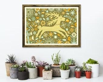 Floral Deer Art Print A3 - Housewarming Gift, Christmas Gift, Green Wall Art, Nursery Decor, Home Decor Idea - Inspired by Lithuania