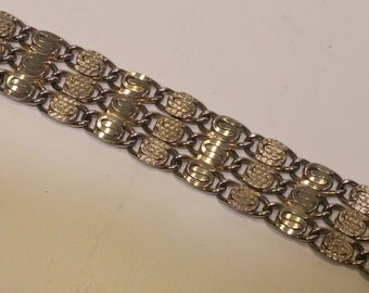 Vintage Multi-Strand Chain and Link Bracelet, Silvertone Metal and Wire - 1970s - unsigned