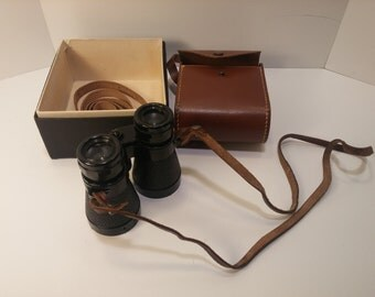 Vintage Mid-Century FRANCE Field Glasses with original box, leather case and 2 neck straps - Post War 1950s