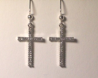 Cross earrings, one inch rhinestones cross earrings, Free USA shipping only, #E348