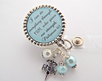 Personalized RN Badge Reel Scripture Jewelry, Bible Verse Jewelry Faith Medical Dr  Lpn Lvn Pa, Nurse Graduate Gift, ID Tag Teacher Lanyard