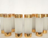 """Tumbler Drink Glass 14 fl. oz. Frosted Gold Top Gold Bottom Stands 7 7/8"""" Federal Glass C. 40's"""
