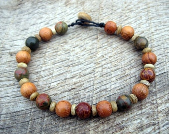 Mens surfer bracelet, jasper, shell and rosewood beads, handmade from earthy natural materials with a  toggle and loop clasp, tribal style