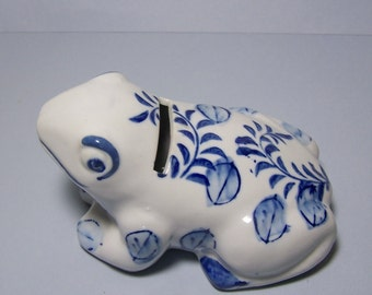 FROG COIN BANK - Hand Painted Blue & White Porcelain - Buds and Leaves