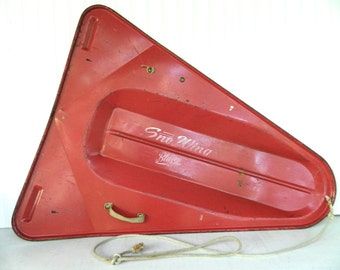 Vintage Red Metal Sled Snow Sled Sno Wing Holiday Display