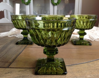 4 Vintage Mid Century Green Glass Compote Dessert Dishes